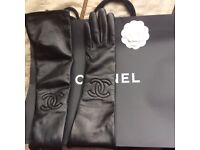 Leather long Chanel gloves