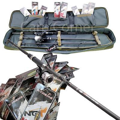 Travel fishing set up 4 piece spin rod reel deluxe case for Fishing pole travel case