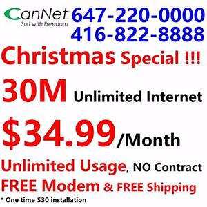Free modem, LOWEST PRICE, Unlimited usage - 30M unlimited cable internet only $34.99/month, NO CONTRACT, Free shipping