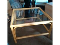 Glass and cane coffee table