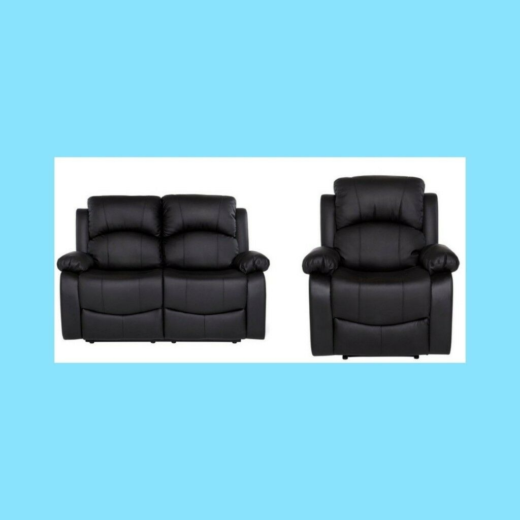 2 Seater And Armchair Black Faux Leather Recliner Sofa Set In