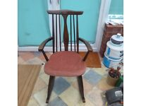 Vintage Wooden Dark Wood Rocking Chair based on the Ercol Design