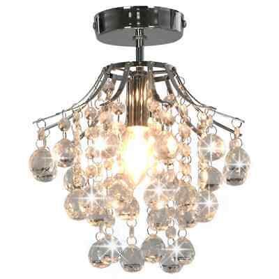 vidaXL Lámpara de Pared Redonda con Cuentas de Cristal E14 Plateada Decoración