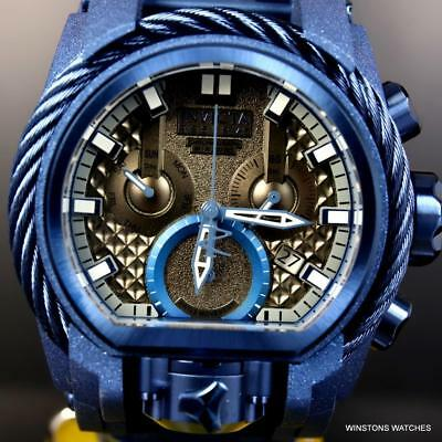 Invicta Reserve Bolt Zeus Magnum Blue Sandblasted Steel Swiss Mvt 52mm Watch New