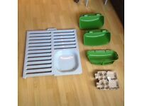 Chicken roost bars and feed holders