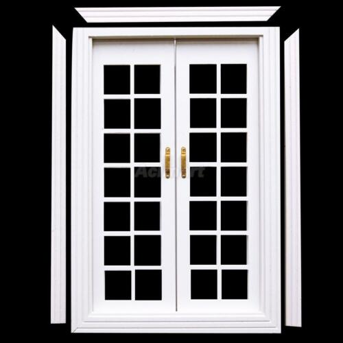 1 12 doll house white wooden exterior double french doors for Wooden french doors