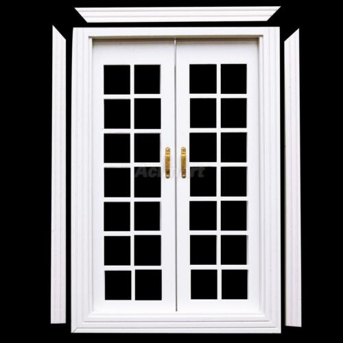 1 12 doll house white wooden exterior double french doors with door trim diy set Plastic molding for exterior doors