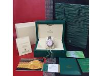 LADIES Rolex Submariner Silver Strap Pink Face - Complete Set Box And Papers 1YFW*