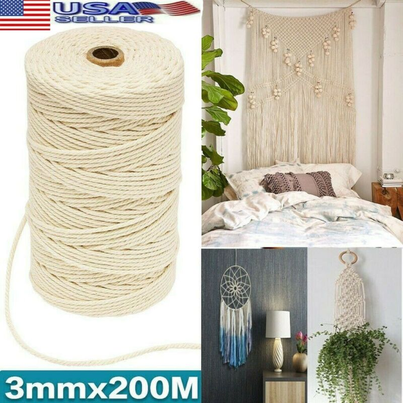 200m Natural Beige Cotton Twisted Cord Craft Macrame Rope Ar