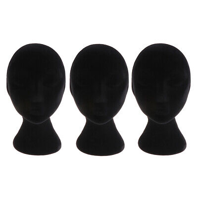 3 Pack Foam Female Mannequin Head Model Wig Glasses Hat Display Stand Black