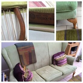 3 seater lime green Parker Knoll sofa.