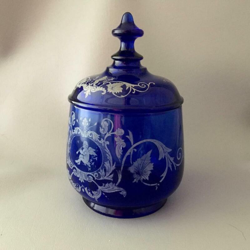 ANTIQUE VTG? COBALT BLUE GLASS CHERUBS APOTHECARY CANDY DISPLAY JAR