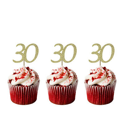 30th Birthday Cupcake Toppers - Number 30 Party – Glittery Gold - Pack of 10