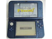 NINTENDO 'New' 3DS XL Metallic Blue with 130 GAMES + Charger & Leather Case