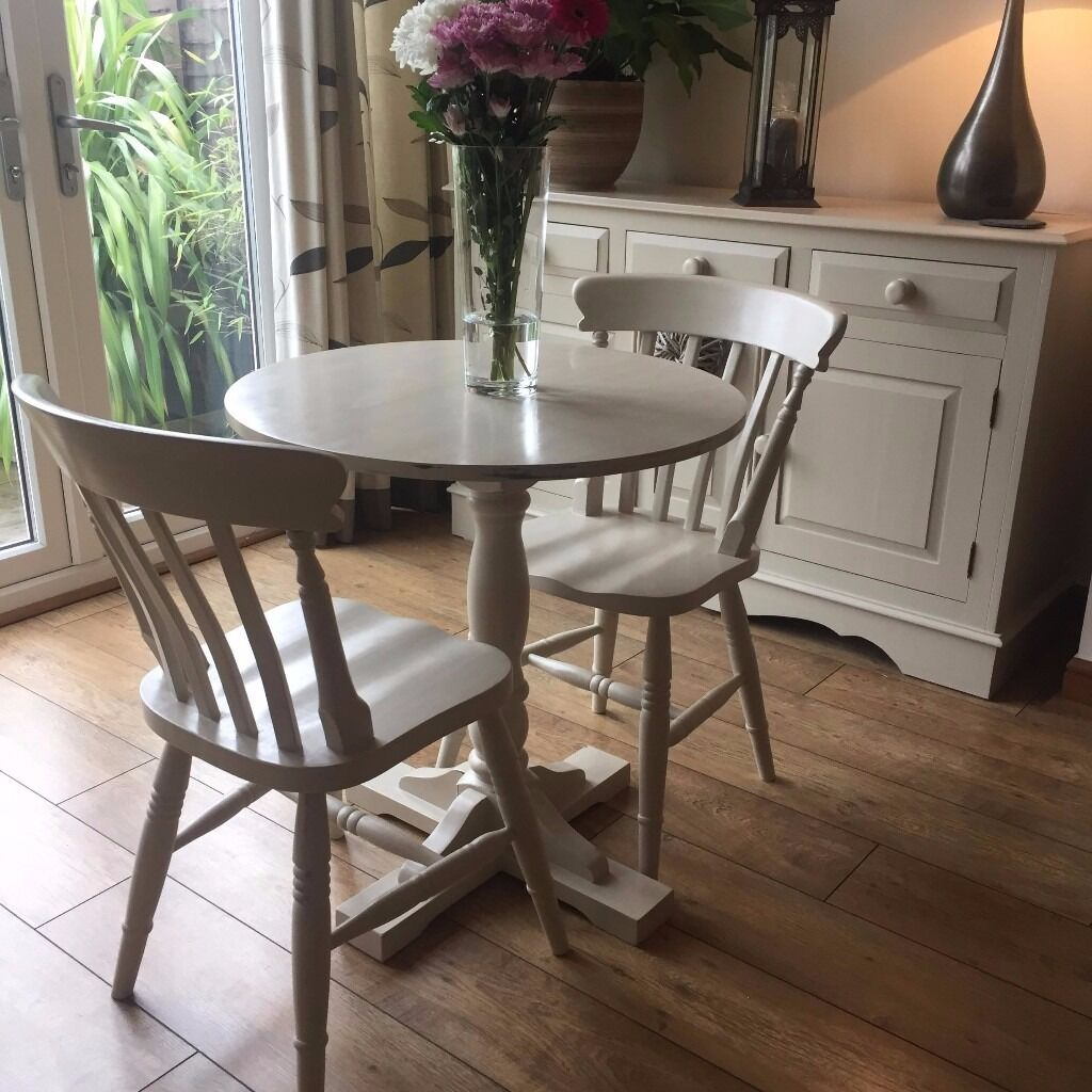 Shabby Chic Small Dining Table and 2 chairs painted in Annie Sloan