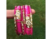 6X silk thread bangles pink