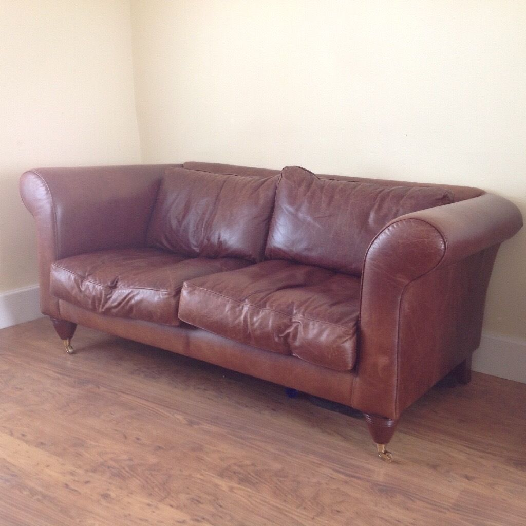 laura ashley vintage leather sofa in exmouth devon gumtree. Black Bedroom Furniture Sets. Home Design Ideas