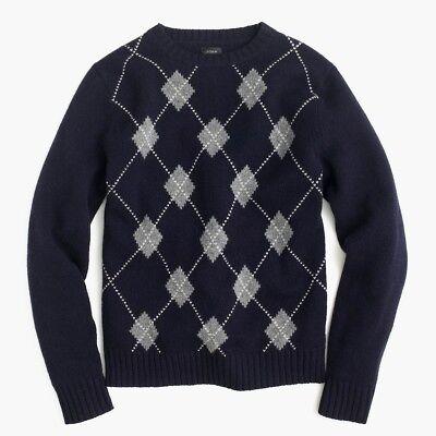 NEW J CREW Navy Blue Lambswool Argyle Crewneck Mens Sweater Size Medium M F8215 - Lambswool Argyle Crewneck Sweater