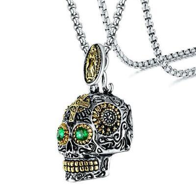 SUGAR SKULL NECKLACE Mexican Day of the Dead Skeleton Head Pendant Biker - Skull Head Necklace