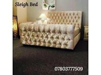Brand New Velvet Sleigh Bed