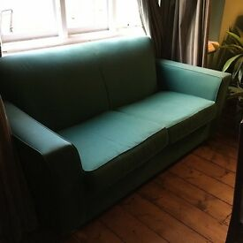 Habitat 'Pacino' 2 x person green sofa - solid: in good condition with fabric intact