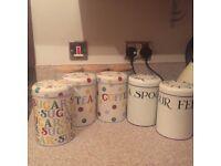 5 Emma Bridgewater tea, coffee and sugar canisters