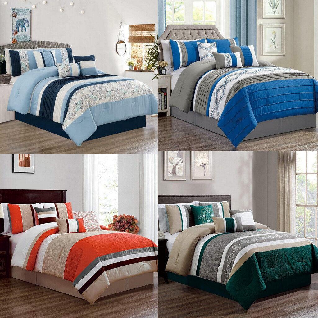 Dcp 7 Pcs Oversized Bedding Comforter Sets Strip Bed In Bag Queen King Cal King Ebay
