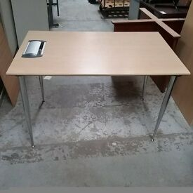 Beech desk with built in plug sockets