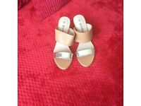 New wedge sandals. Beige and gold.