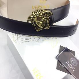 Matte gold big buckle medusa very soft black leather men's belt versace boxed fantastic gift