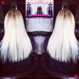 Hair extensions in salon / Nano rings / Micro rings / Fusion bonds