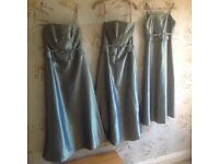 3 SAGE GREEN BRIDESMAIDS DRESSES AND FLOWER GIRL DRESS (child)