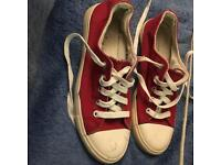 New Look Cotton Shoes,Size 4, Red & White Body, White Laces.