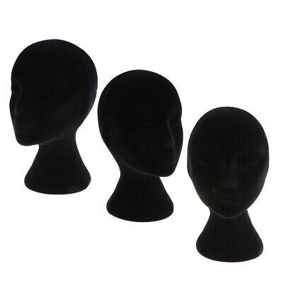 3pcs Foam Mannequin Female Head Models Dummy Wig Glasses Display Stands