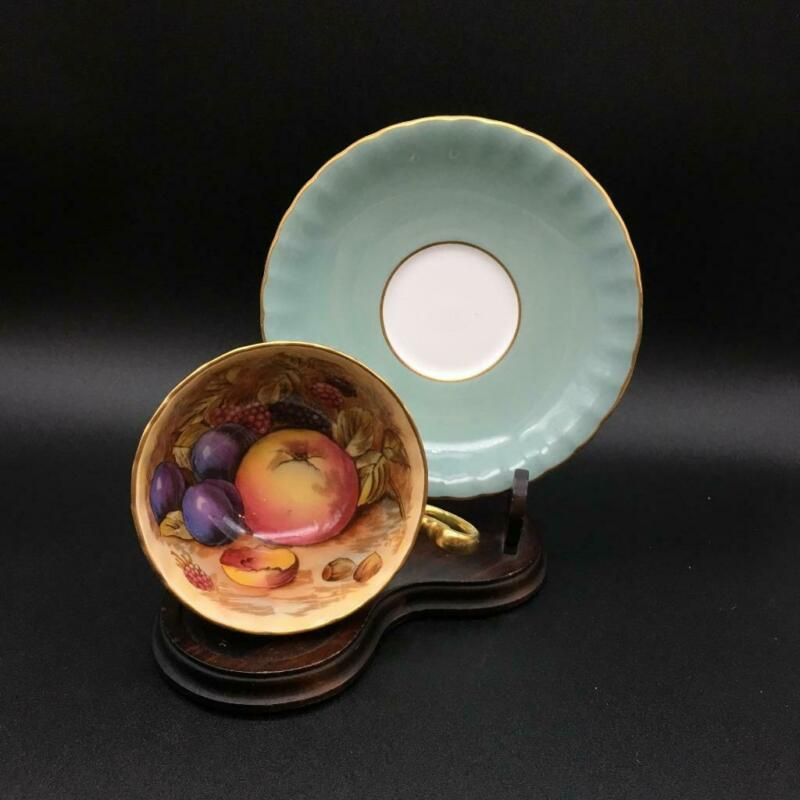 AYNSLEY ORCHARD FRUIT SAGE MINT GREEN TEA CUP & SAUCER SET SIGNED JONES CS104