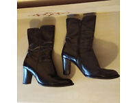 Real leather black shoes - UK size 5
