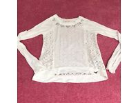 Womans Hollister White Top with Lace and Jewel Detail