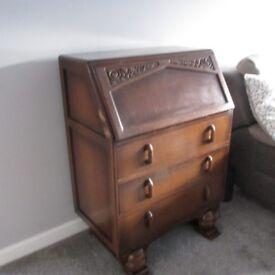 vintage jentique carved oak bureau