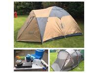 3 man tents and camping equipment