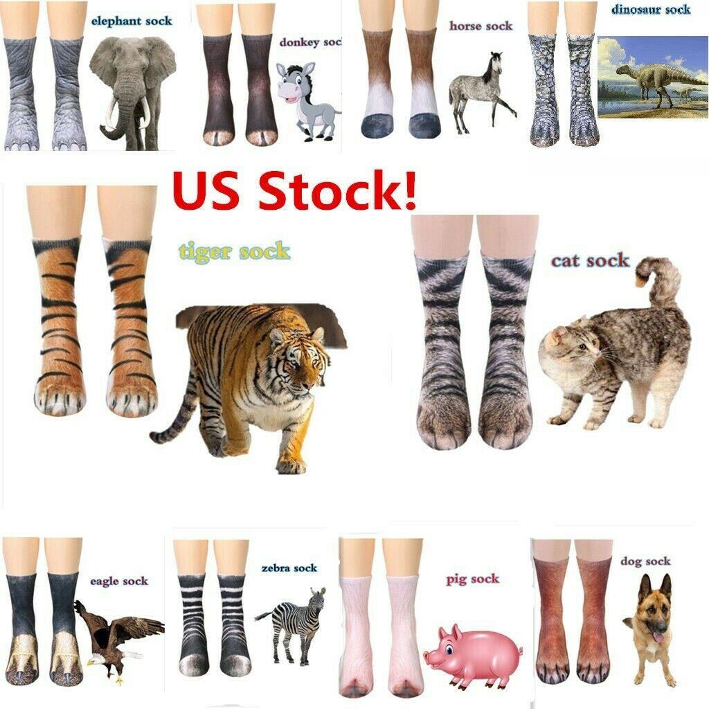 US! 3D Printed Animal Paw Crew Socks Unisex Cosplay Novelty Cotton Socks cat dog Clothing, Shoes & Accessories