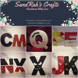 Hand painted, wooden Christmas tree decorations - Letters