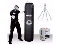 TurnerMAX Genuine Cowhide Leather Punching Bag Smooth Crack Resistant Surface for Boxing 4 Ft 5 Ft