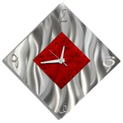Modern Silver & Red Metal Wall Clock, Contemporary Metal Wall Art by Jon Allen