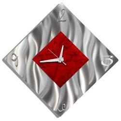 Modern Silver & Red Metal Wall Clock, Contemporary Metal Wall Art by Jon Allen