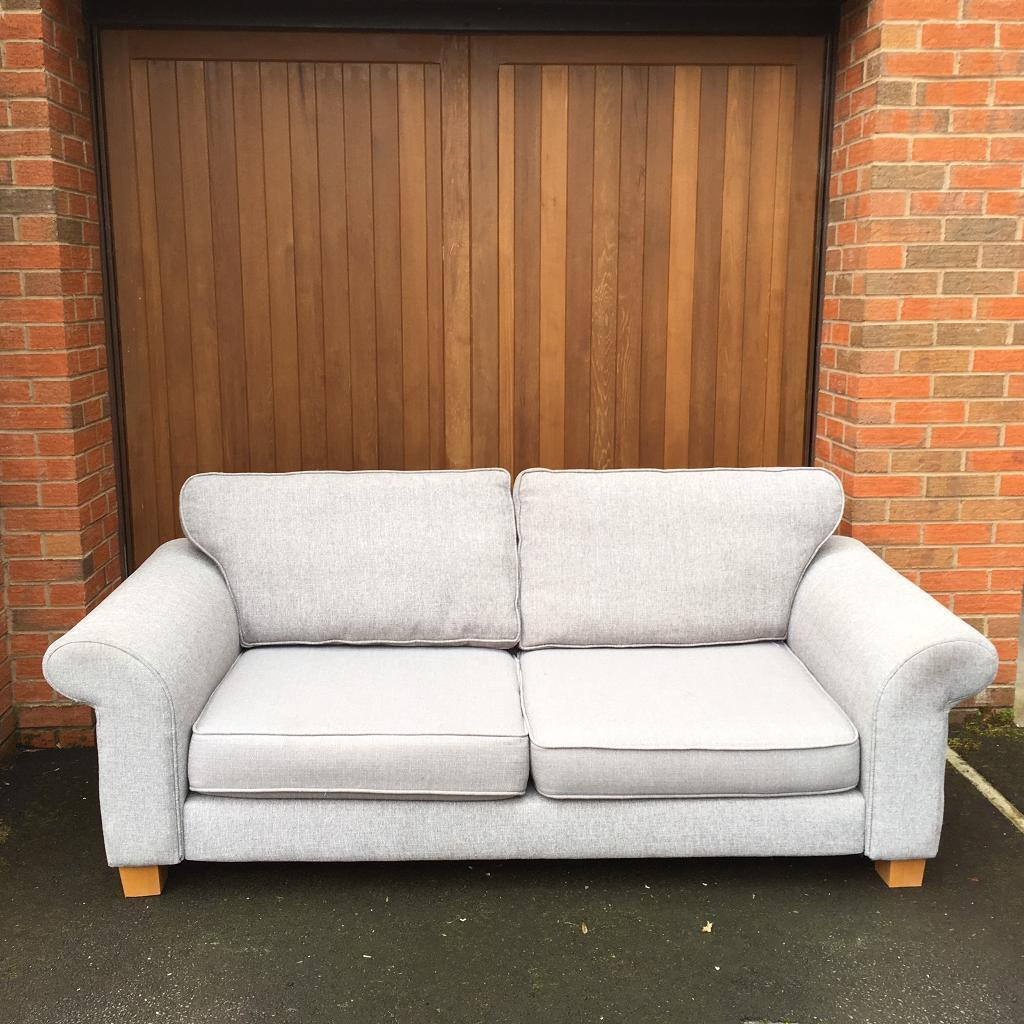 Leather Sofas At Dfs: DFS Grey 3 Seater Sofa Delivery Available Ex Display