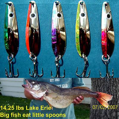 "Nickel  2 5//8/""  Trolling Spoons Lake Erie Walleye Candy Brass 285NKLFES 5"
