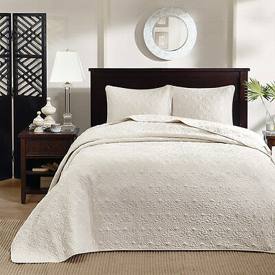 IVORY MATELASSE 3pc King BEDSPREAD SET : ...