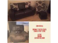 Brown Couch, chair , footstool and free leather recliner