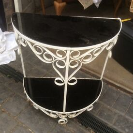 Vintage wrought iron and glass hall table