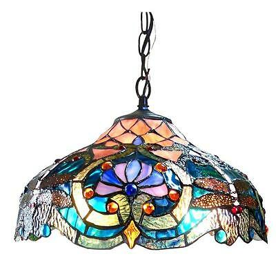 Traditional Style Pendant Lamp (Tiffany Style Pendant Ceiling Lamp Blue Turquoise Stained Glass Shade 60